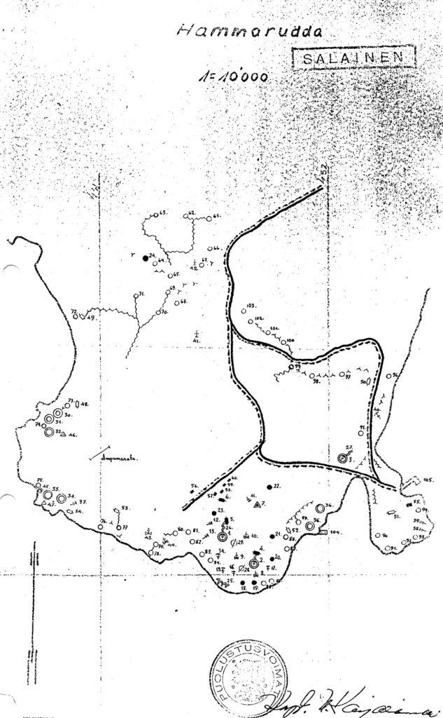 Map sketch over Hammarudda fort, The Åland Islands. Kenneth Gustavssons collection.